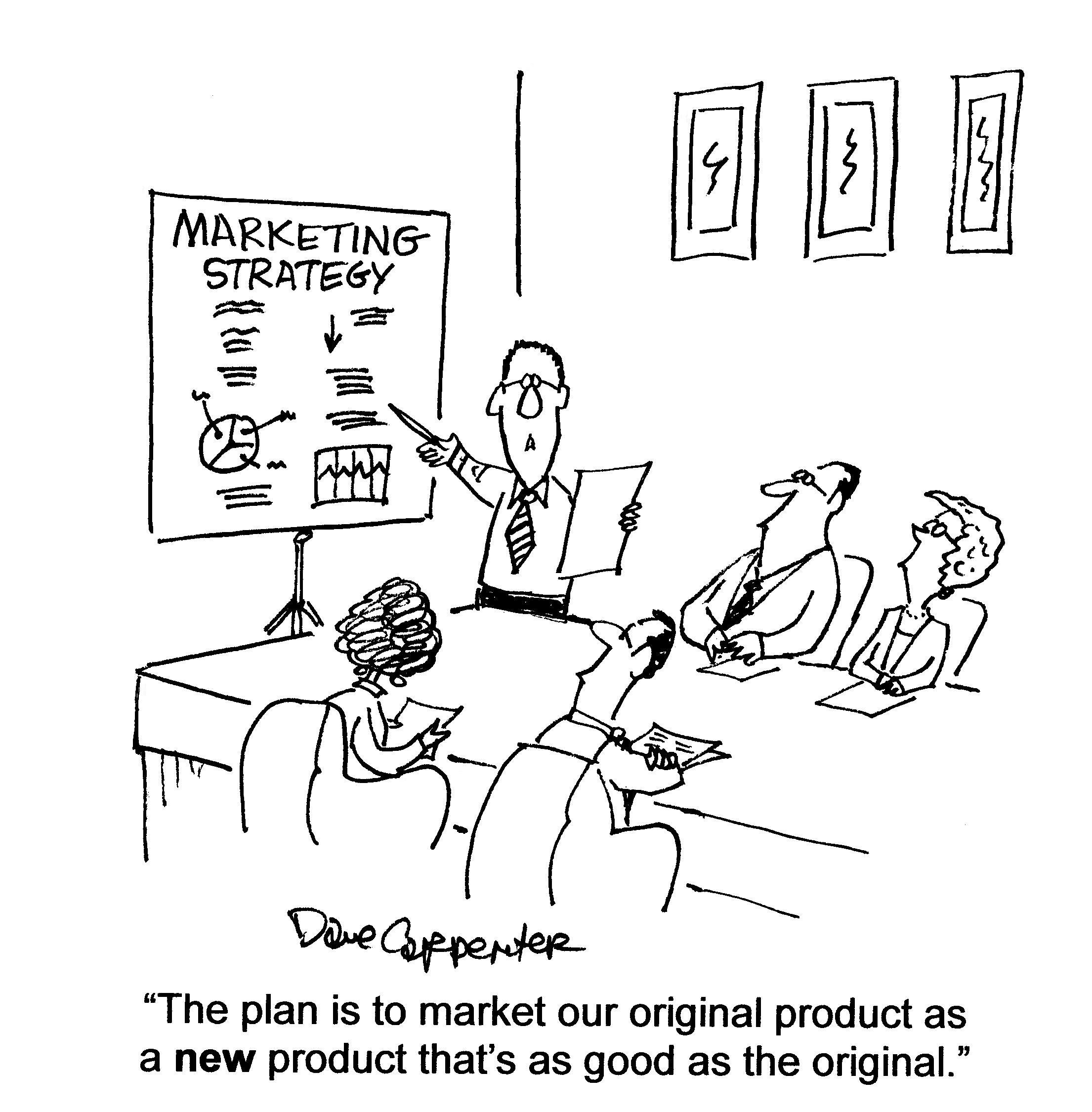advertising services people love to buy but they hate to be sold 1950s Clothes marketing plan cartoon